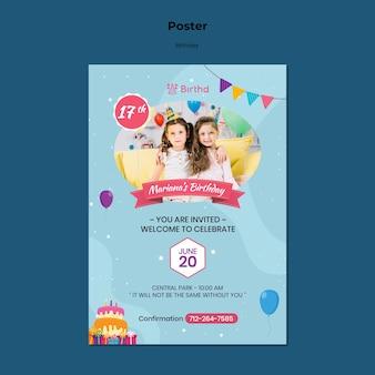 Szablon plakatu zaproszenie na urodziny
