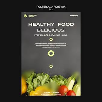 Szablon plakatu zdrowe pyszne jedzenie