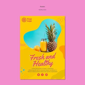 Szablon plakatu zdrowego soku