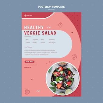 Szablon plakatu zdrowej sałatki warzywnej