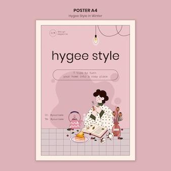 Szablon plakatu ze wskazówkami w stylu hygge