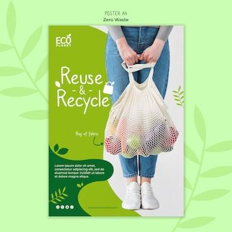 Szablon plakatu zero odpadów ze zdjęciem