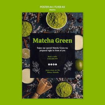 Szablon plakatu zielonej herbaty matcha