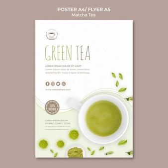 Szablon plakatu zielonej herbaty