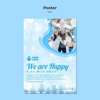 Szablon plakatu zima czas dla rodziny