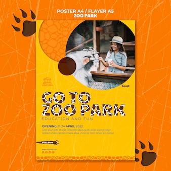 Szablon plakatu zoo park ze zdjęciem