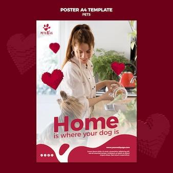 Szablon plakatu zwierząt domowych ze zdjęciem