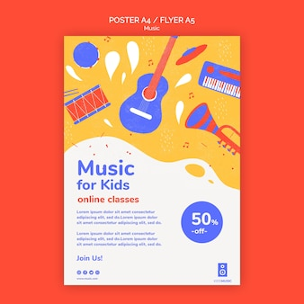 Szablon platformy muzycznej ulotki dla dzieci