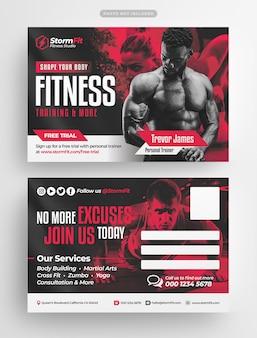 Szablon pocztówki siłowni szkolenia fitness