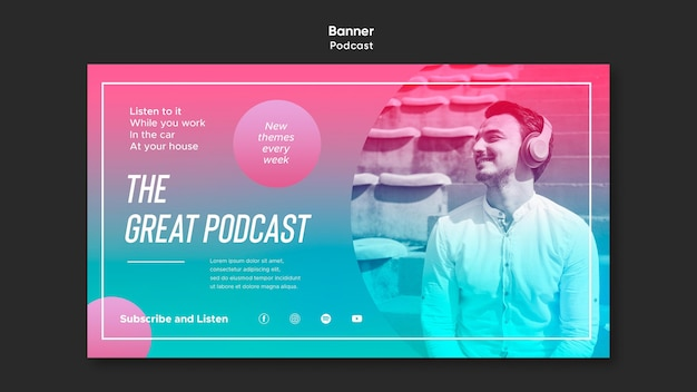 Szablon podcastu radiowego transparent
