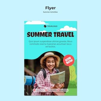Szablon podróży lato ulotki