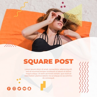 Szablon post kwadrat w stylu memphis z koncepcją lato