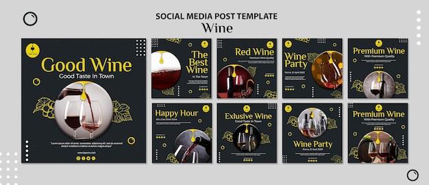 Szablon post mediów społecznościowych wina