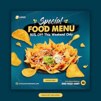Szablon post mediów społecznościowych żywności i restauracji