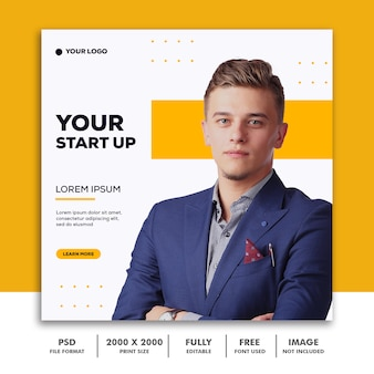 Szablon post square banner for instagram, business corporate man start up elegant modern simple