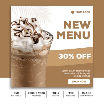 Szablon post square banner for instagram, restaurant food drink milkshake menu