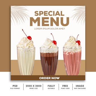 Szablon post square banner for instagram, restaurant food special menu drink milkshake