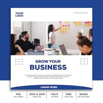 Szablon post square banner na instagram, business corporate blue clean simple