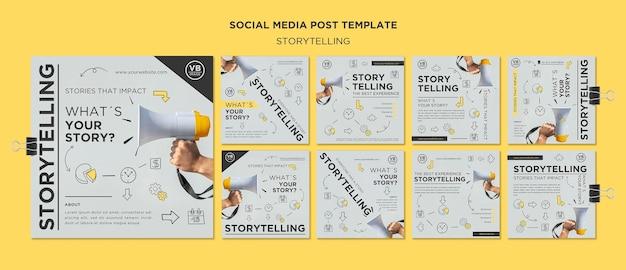 Szablon posta w mediach społecznościowych z opowiadaniem historii