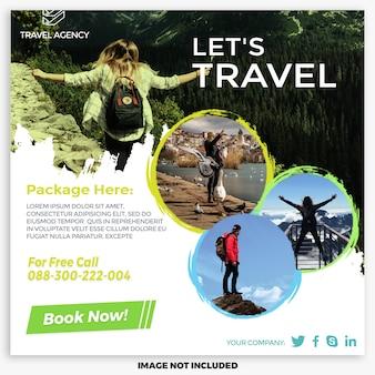 Szablon postów dotyczących wycieczek i podróży w mediach społecznościowych