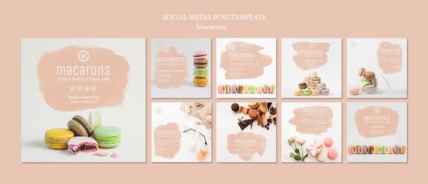 Szablon postów mediów społecznościowych macarons