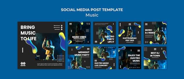 Szablon postów na imprezie muzycznej na instagramie