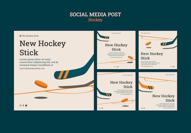 Szablon postów na instagramie hokejowym
