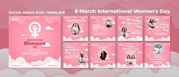 Szablon postów na instagramie z okazji międzynarodowego dnia kobiet