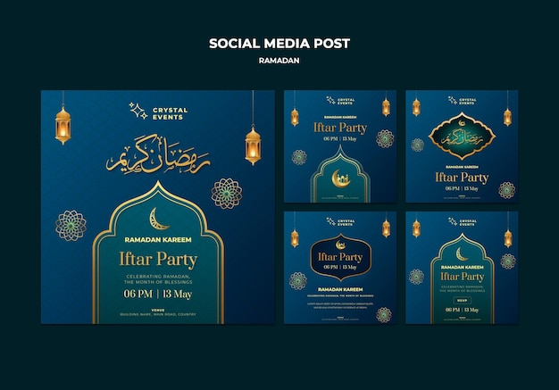 Szablon postów na instagramie z okazji ramadanu