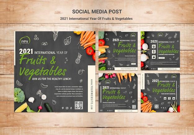 Szablon postów na instagramie z owocami i warzywami
