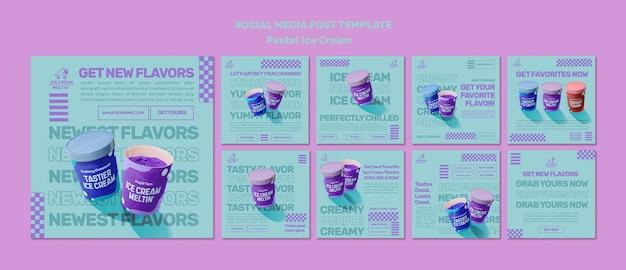 Szablon postów na instagramie z pastelowymi lodami
