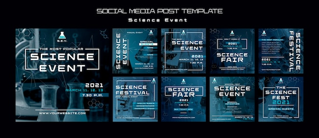 Szablon postów na instagramie z wydarzeniem naukowym