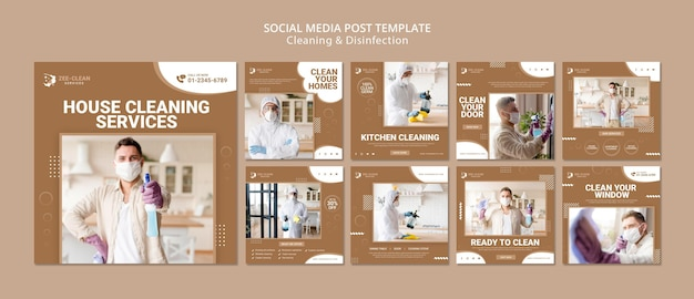 Szablon postów w mediach społecznościowych do czyszczenia i dezynfekcji