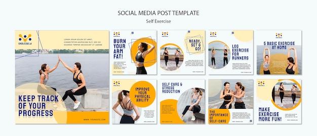 Szablon postów w mediach społecznościowych do samodzielnego wykonywania ćwiczeń