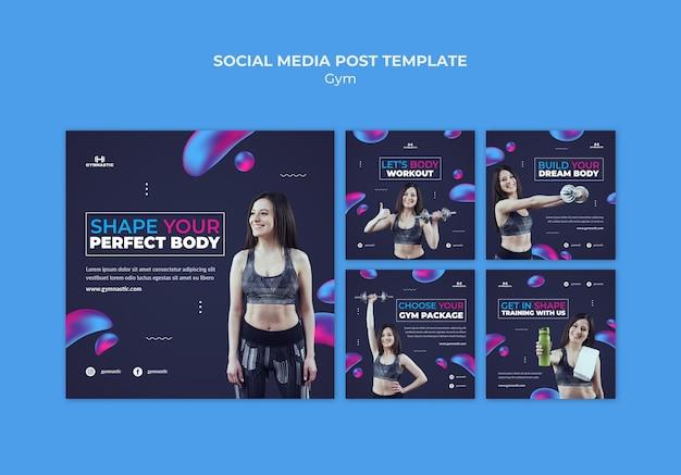 Szablon postów w mediach społecznościowych na siłowni
