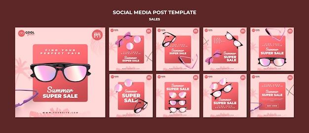 Szablon postów w mediach społecznościowych sprzedaży okularów