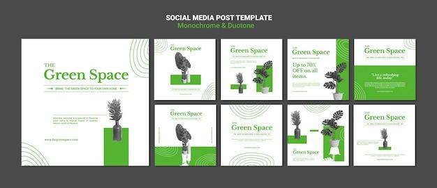 Szablon postów w mediach społecznościowych w zielonej przestrzeni