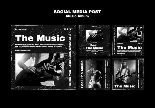 Szablon postów w mediach społecznościowych z albumem muzycznym