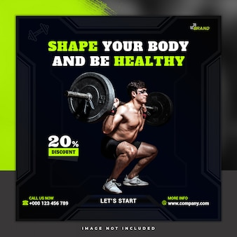 Szablon postu banner fitness i siłowni