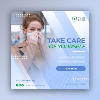 Szablon postu banner mediów społecznościowych zapobiegania wirusom