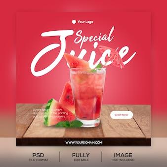 Szablon postu instagram juice