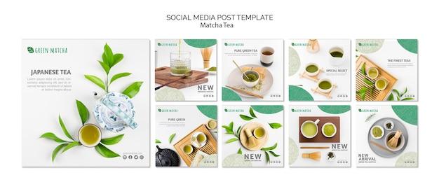 Szablon postu media społecznościowe matcha herbaty