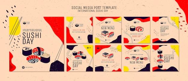 Szablon postu mediów społecznościowych dzień sushi