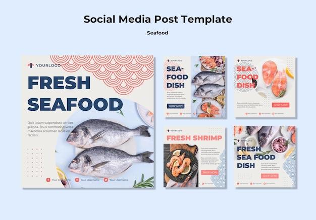 Szablon postu mediów społecznościowych koncepcja owoce morza