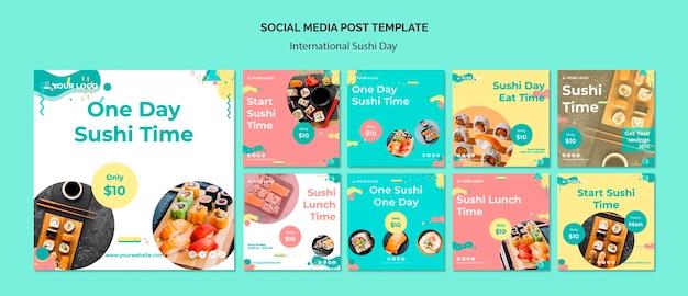 Szablon postu mediów społecznościowych międzynarodowy dzień sushi