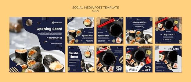Szablon postu mediów społecznościowych sushi