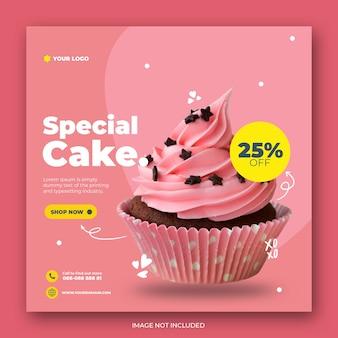 Szablon postu na instagram ładny tort