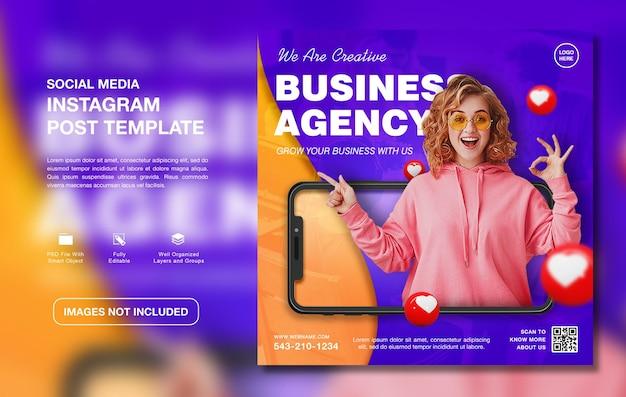 Szablon postu na instagram promocji kreatywnej agencji biznesowej