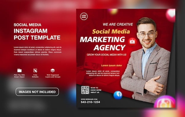 Szablon postu na instagramie kreatywnej agencji marketingu cyfrowego