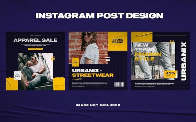 Szablon postu na instagramie miejskiej mody streetwear